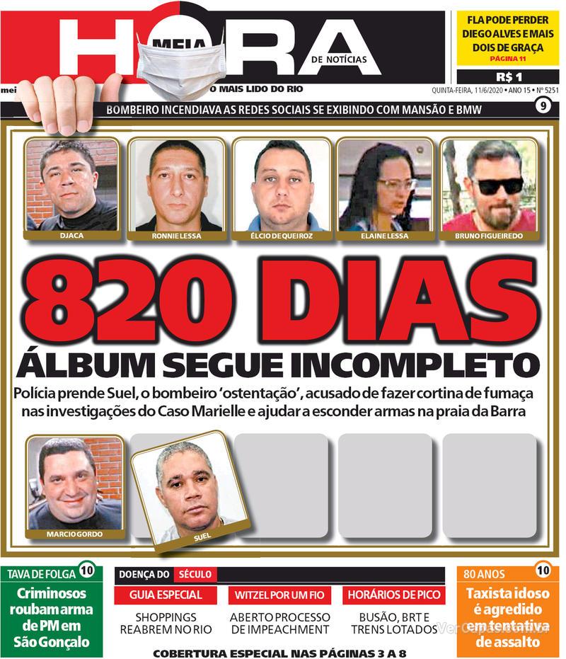 Capa do jornal Meia Hora 11/06/2020