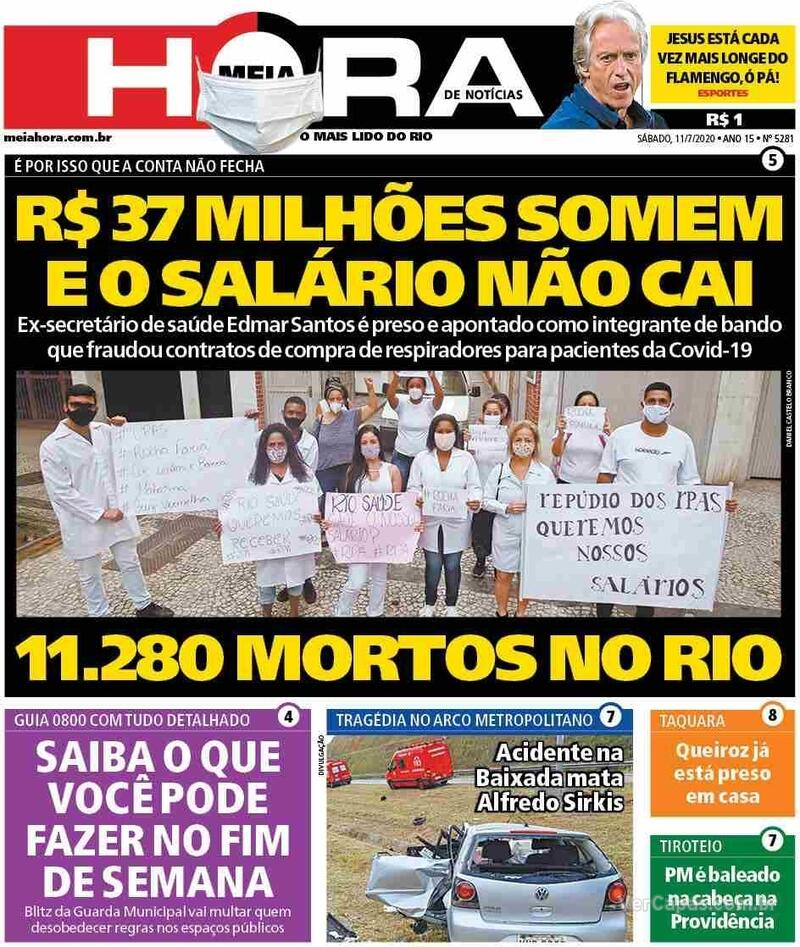 Capa do jornal Meia Hora 11/07/2020