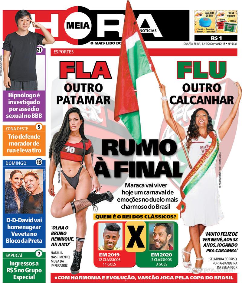 Capa do jornal Meia Hora 12/02/2020