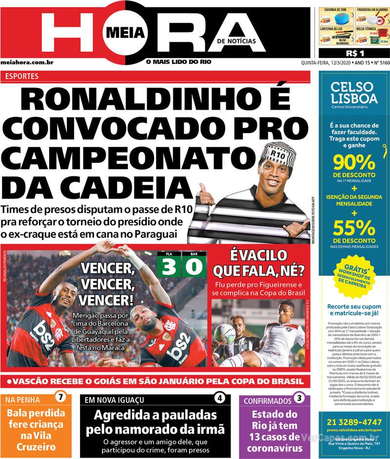 Capa do jornal Meia Hora 12/03/2020