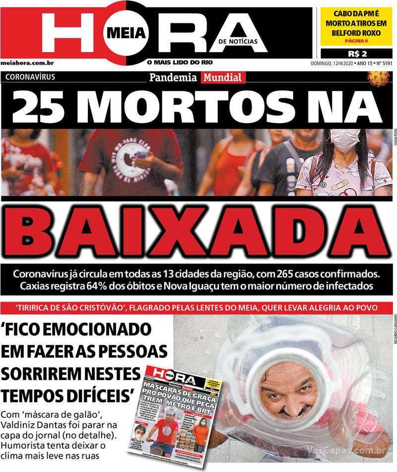 Capa do jornal Meia Hora 12/04/2020