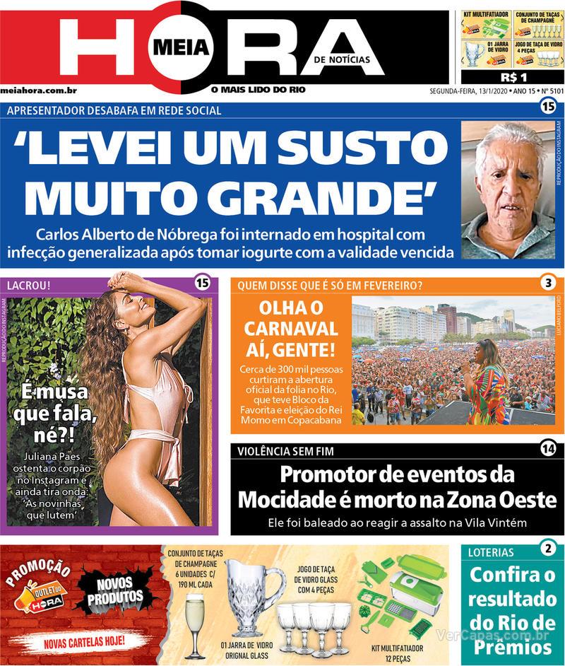 Capa do jornal Meia Hora 13/01/2020