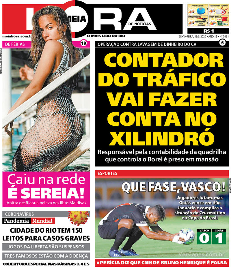 Capa do jornal Meia Hora 13/03/2020