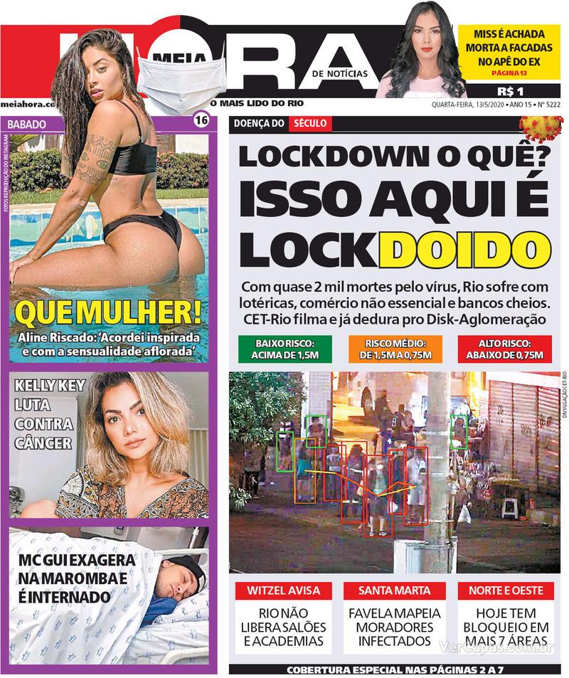 Capa do jornal Meia Hora 13/05/2020
