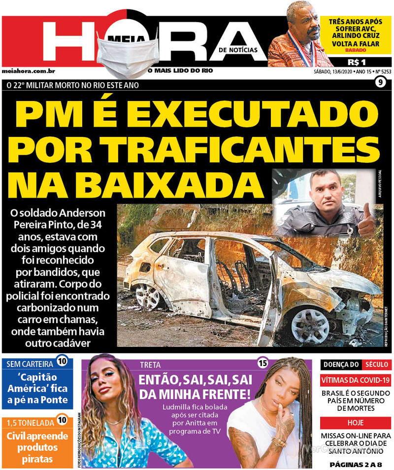 Capa do jornal Meia Hora 13/06/2020