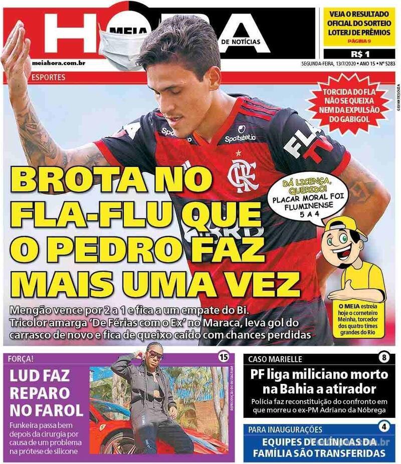 Capa do jornal Meia Hora 13/07/2020