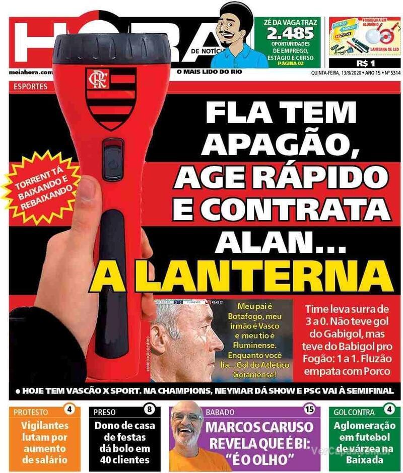 Capa do jornal Meia Hora 13/08/2020
