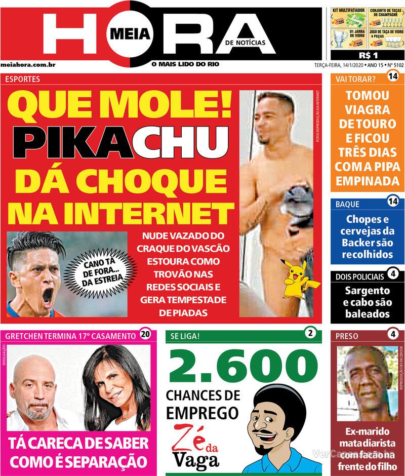 Capa do jornal Meia Hora 14/01/2020