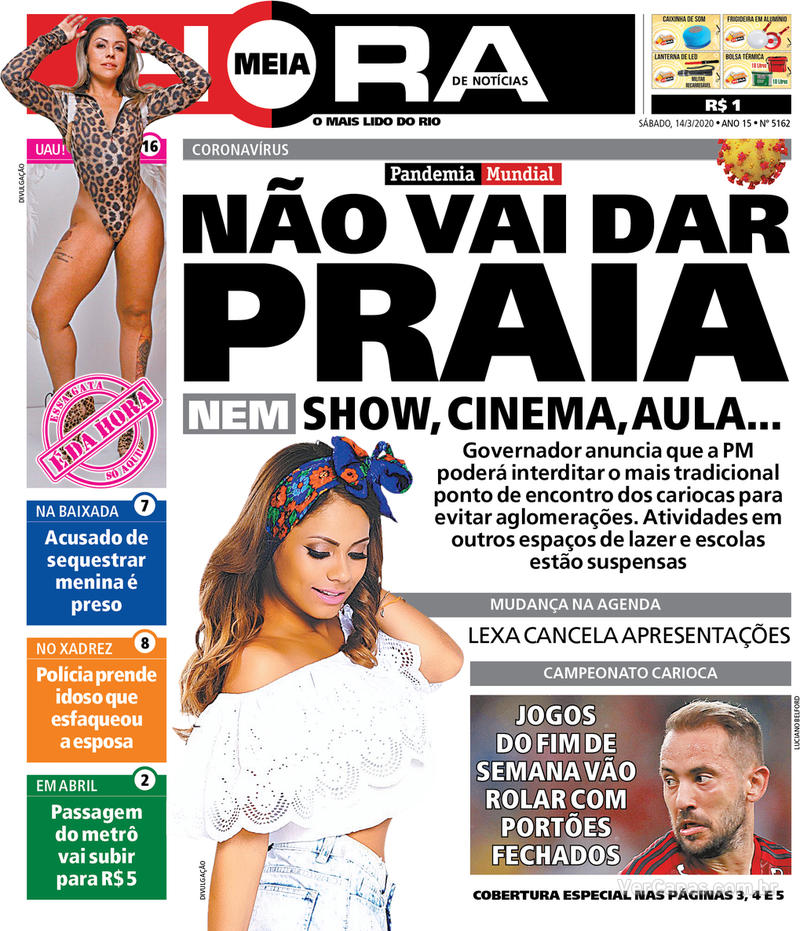 Capa do jornal Meia Hora 14/03/2020