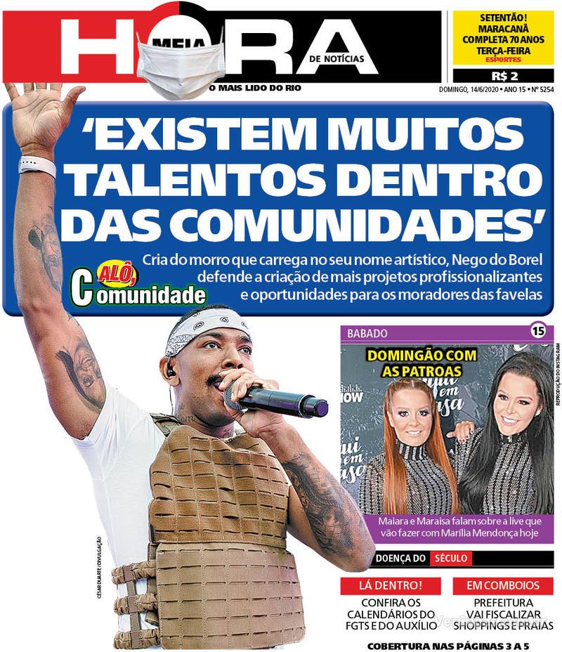 Capa do jornal Meia Hora 14/06/2020