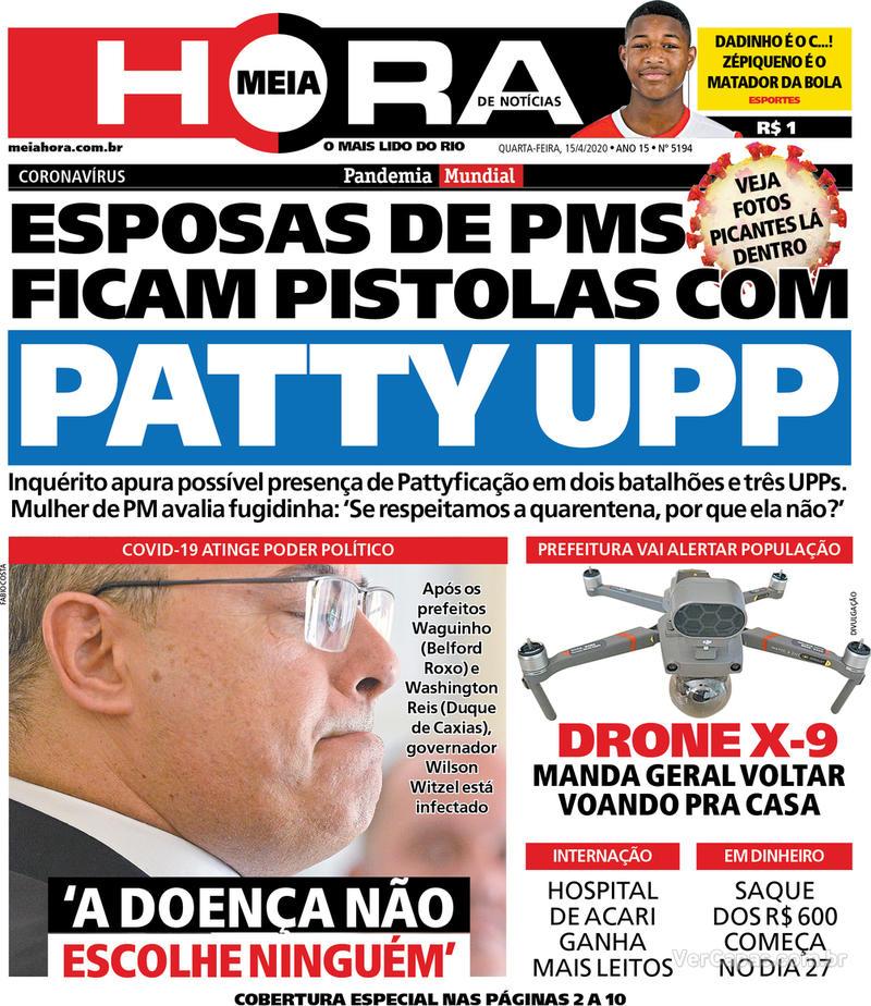 Capa do jornal Meia Hora 15/04/2020