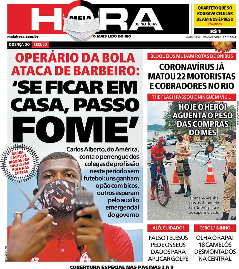 Capa do jornal Meia Hora 15/05/2020