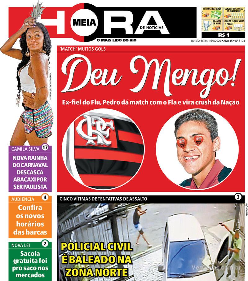 Capa do jornal Meia Hora 16/01/2020