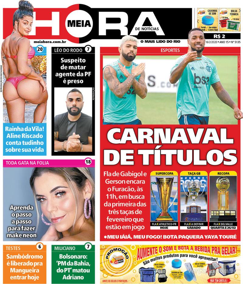 Capa do jornal Meia Hora 16/02/2020