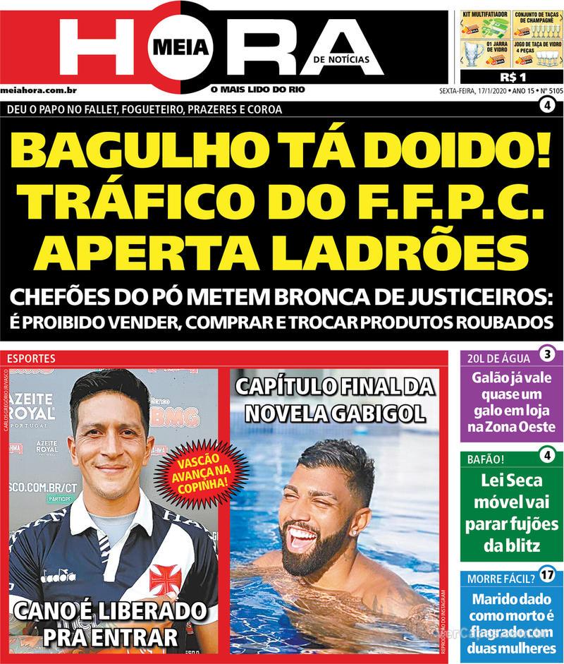 Capa do jornal Meia Hora 17/01/2020