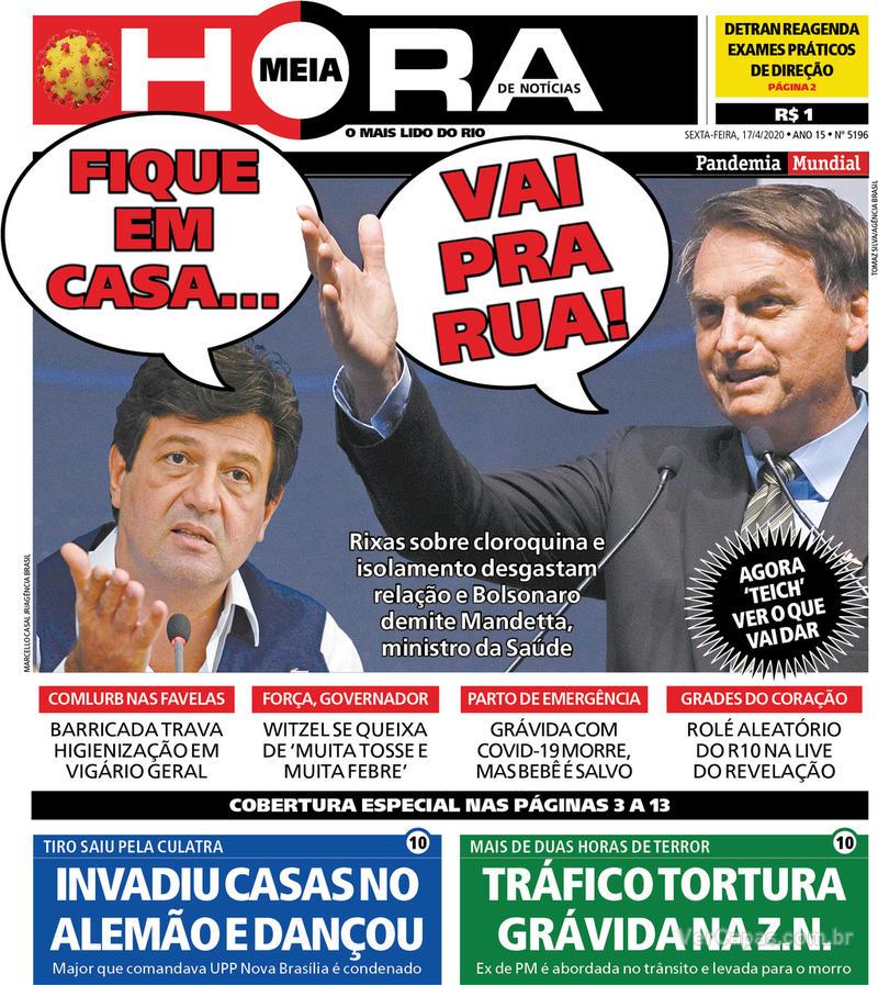 Capa do jornal Meia Hora 17/04/2020