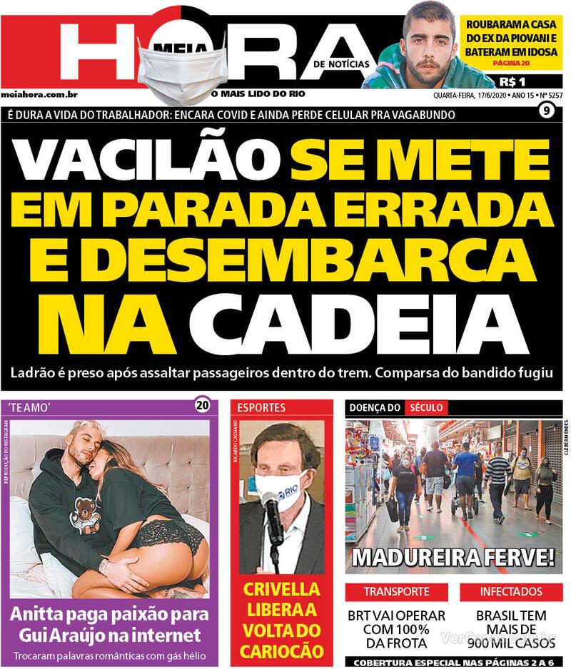 Capa do jornal Meia Hora 17/06/2020