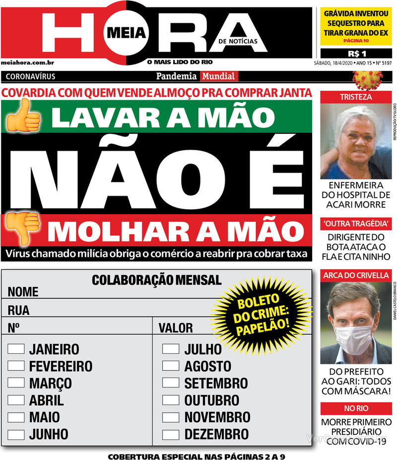 Capa do jornal Meia Hora 18/04/2020