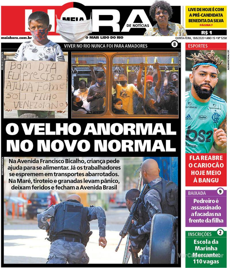 Capa do jornal Meia Hora 18/06/2020