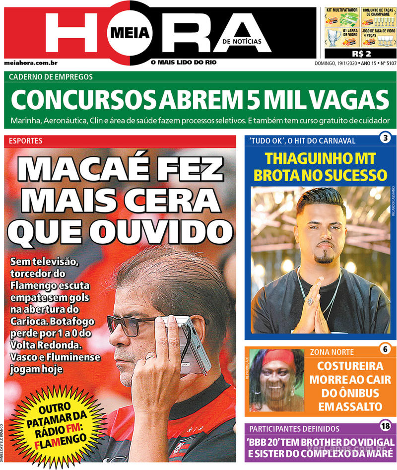 Capa do jornal Meia Hora 19/01/2020