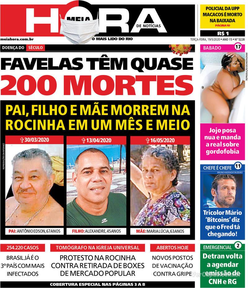 Capa do jornal Meia Hora 19/05/2020