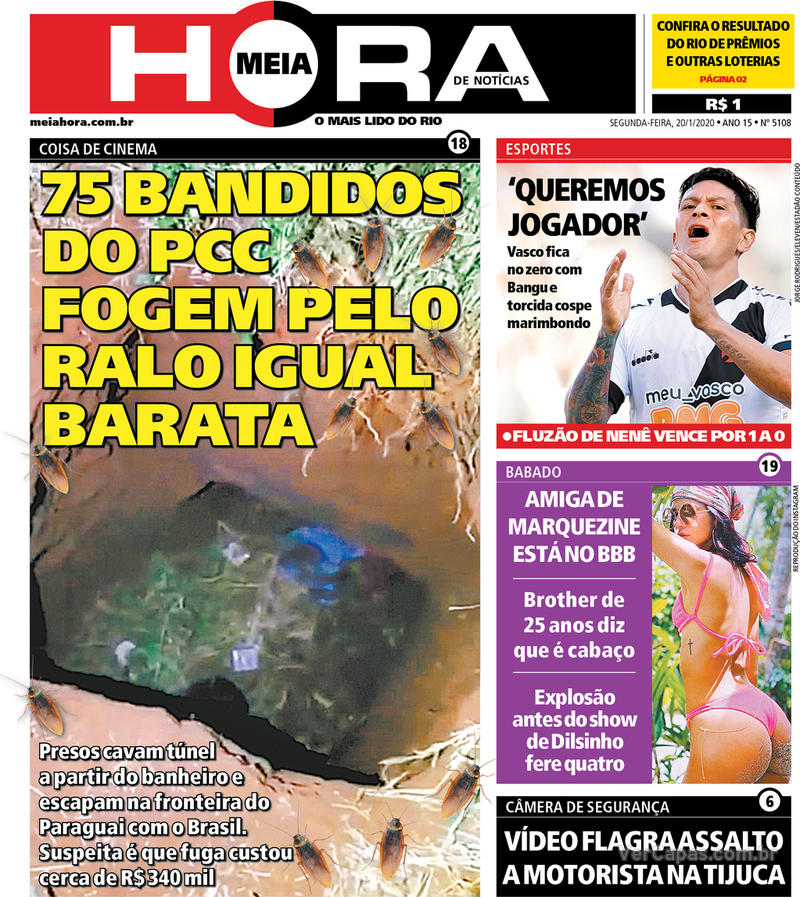 Capa do jornal Meia Hora 20/01/2020