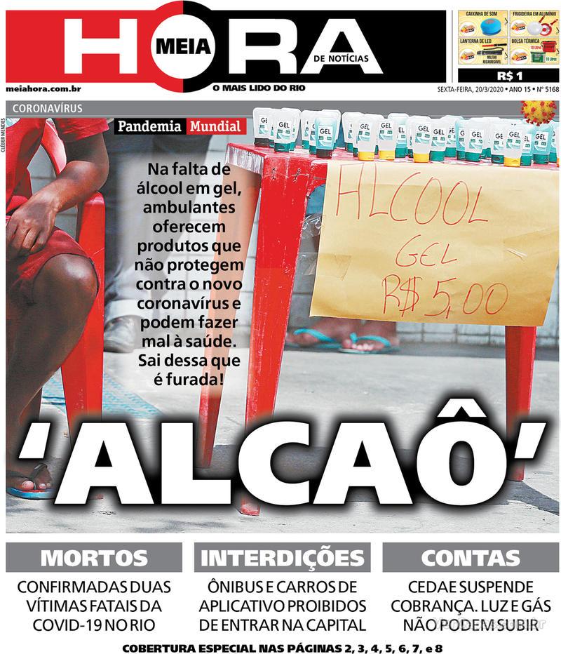 Capa do jornal Meia Hora 20/03/2020