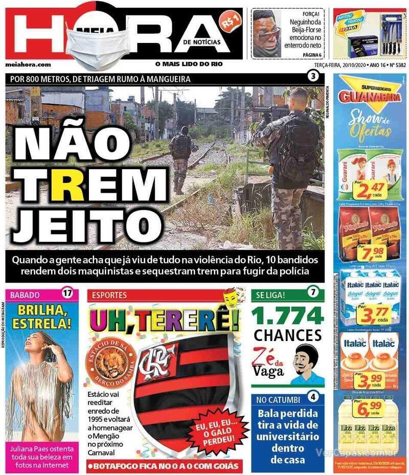 Capa do jornal Meia Hora 20/10/2020