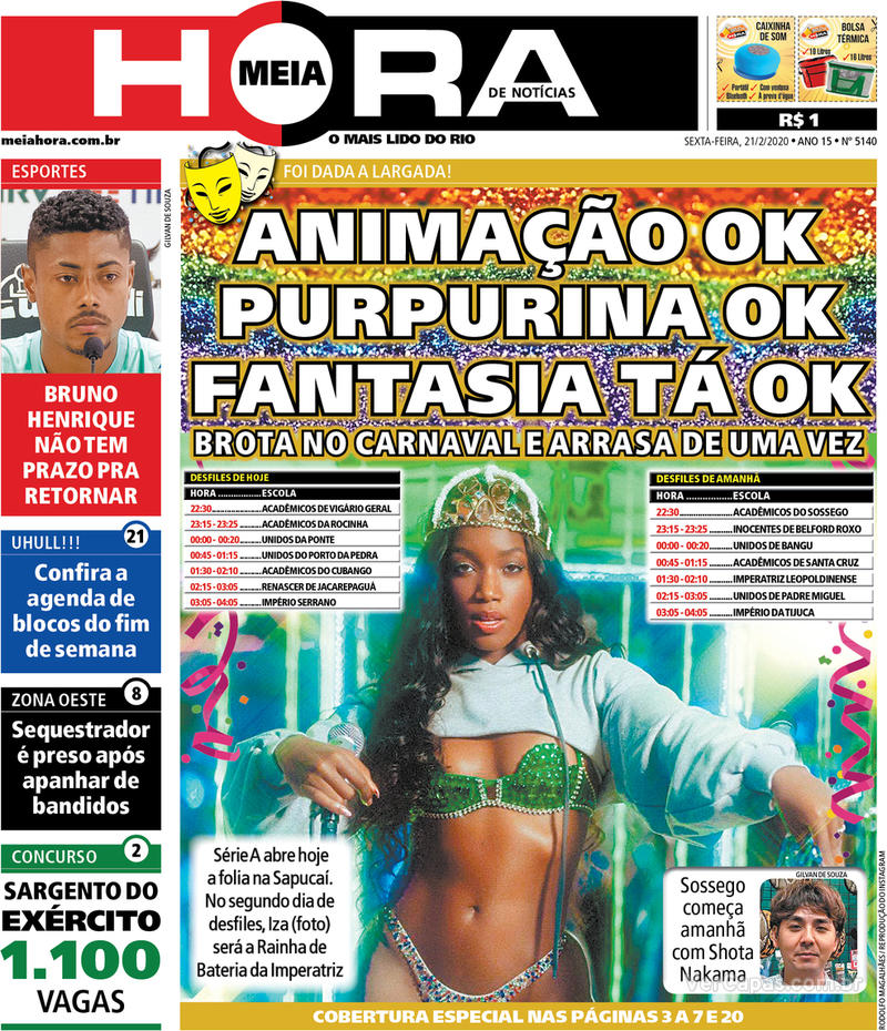 Capa do jornal Meia Hora 21/02/2020