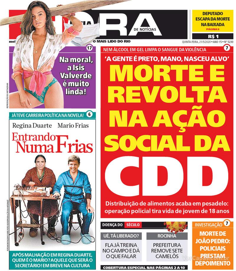 Capa do jornal Meia Hora 21/05/2020