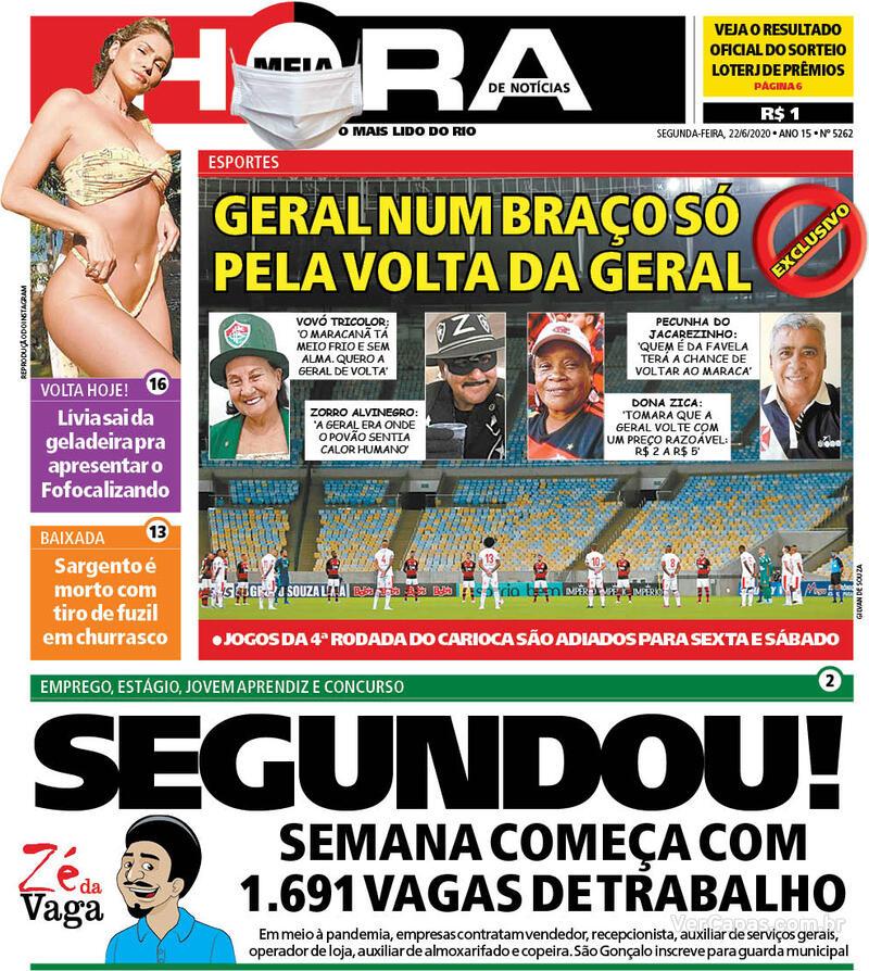 Capa do jornal Meia Hora 22/06/2020