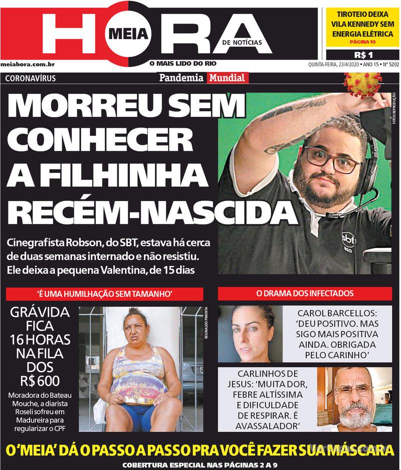Capa do jornal Meia Hora 23/04/2020
