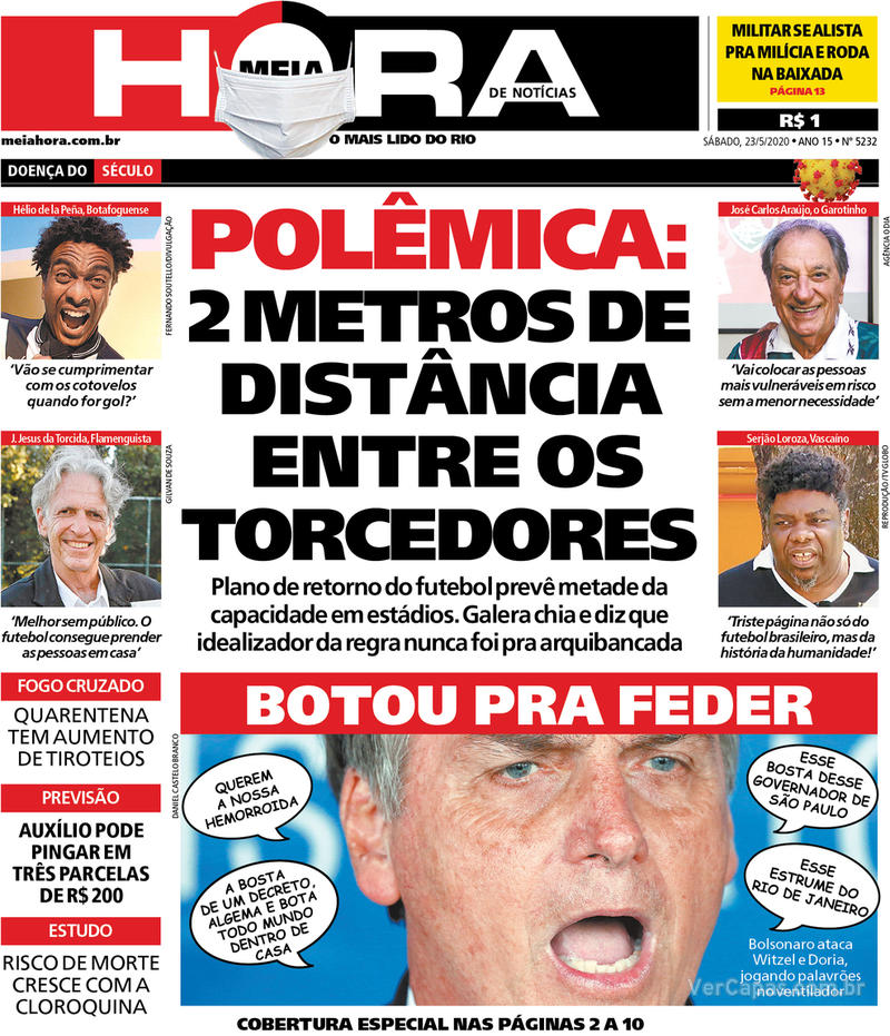 Capa do jornal Meia Hora 23/05/2020