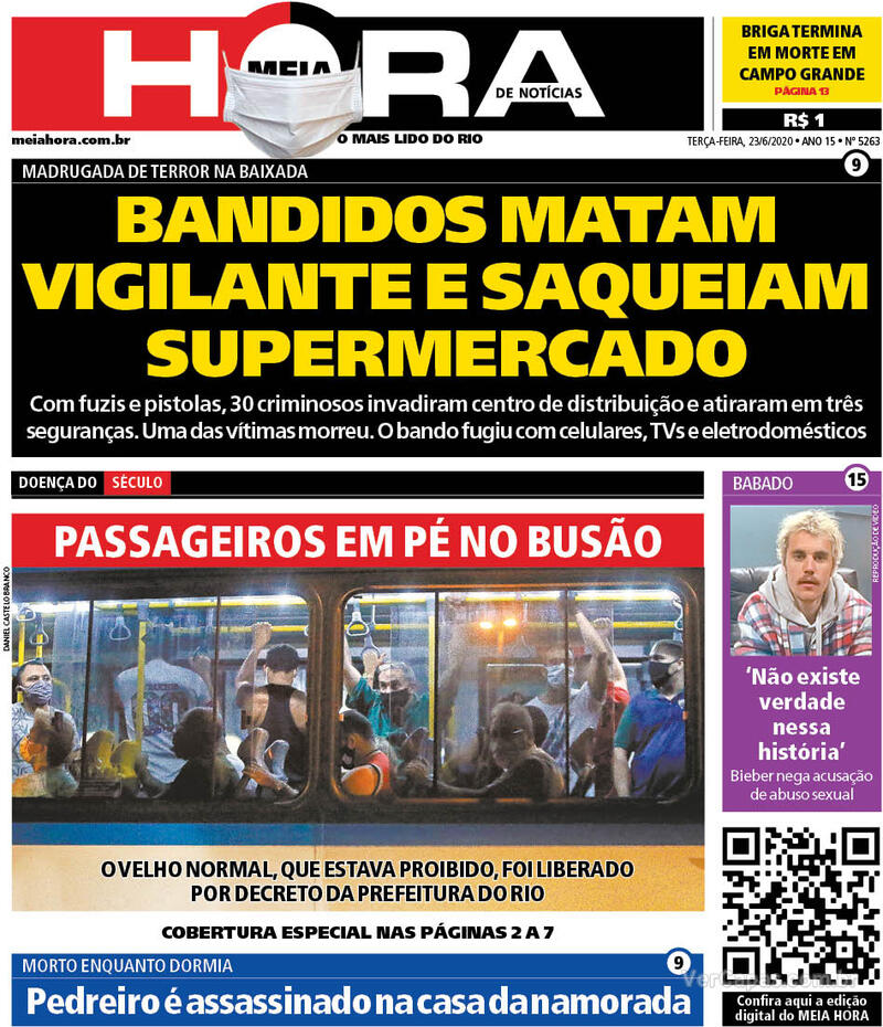 Capa do jornal Meia Hora 23/06/2020