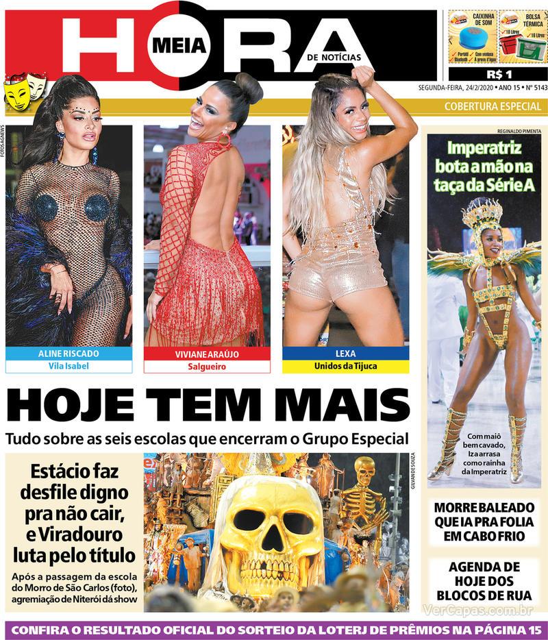 Capa do jornal Meia Hora 24/02/2020