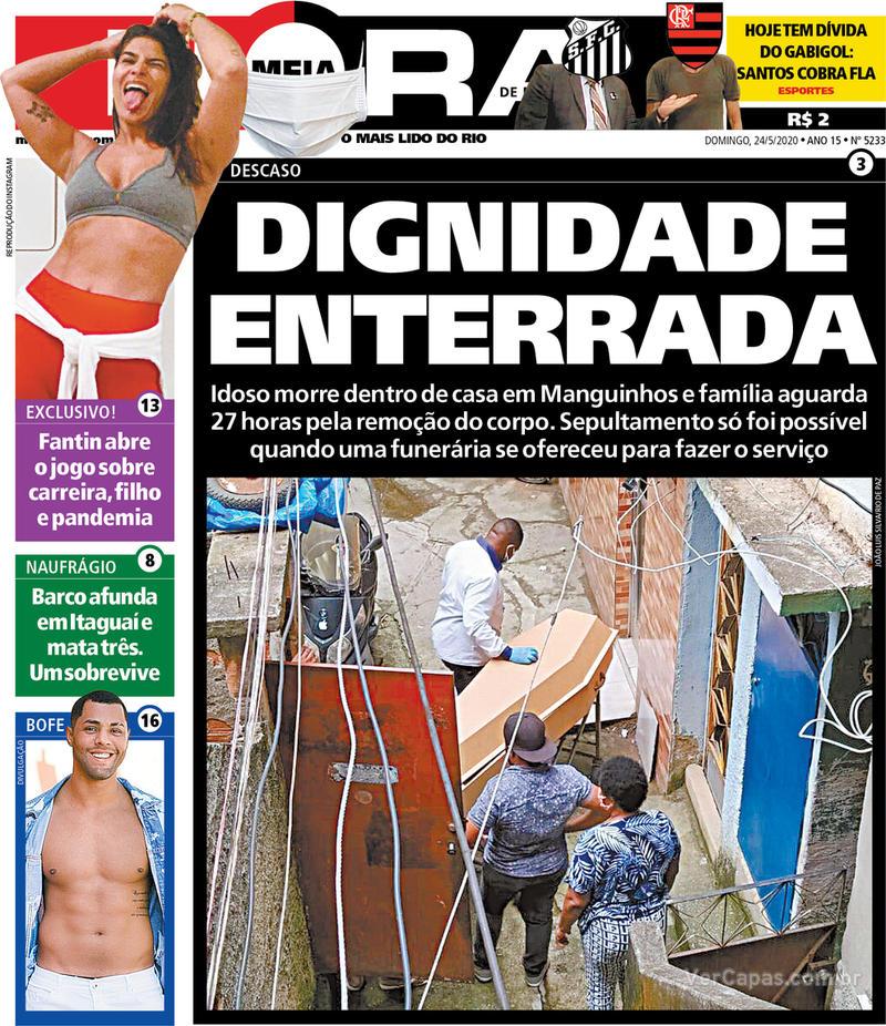 Capa do jornal Meia Hora 24/05/2020