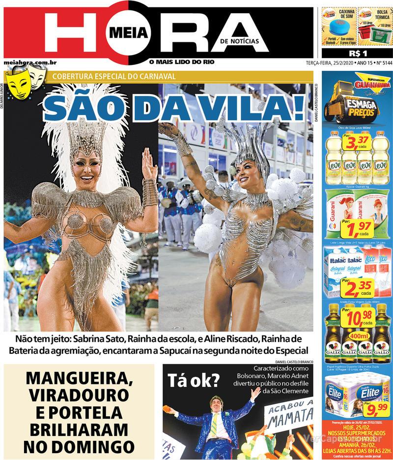 Capa do jornal Meia Hora 25/02/2020