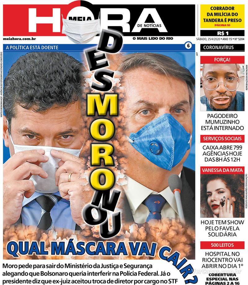 Capa do jornal Meia Hora 25/04/2020