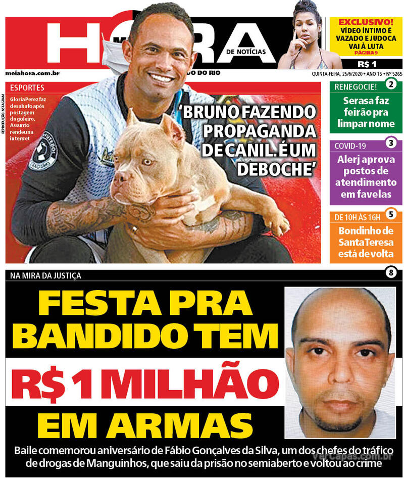 Capa do jornal Meia Hora 25/06/2020