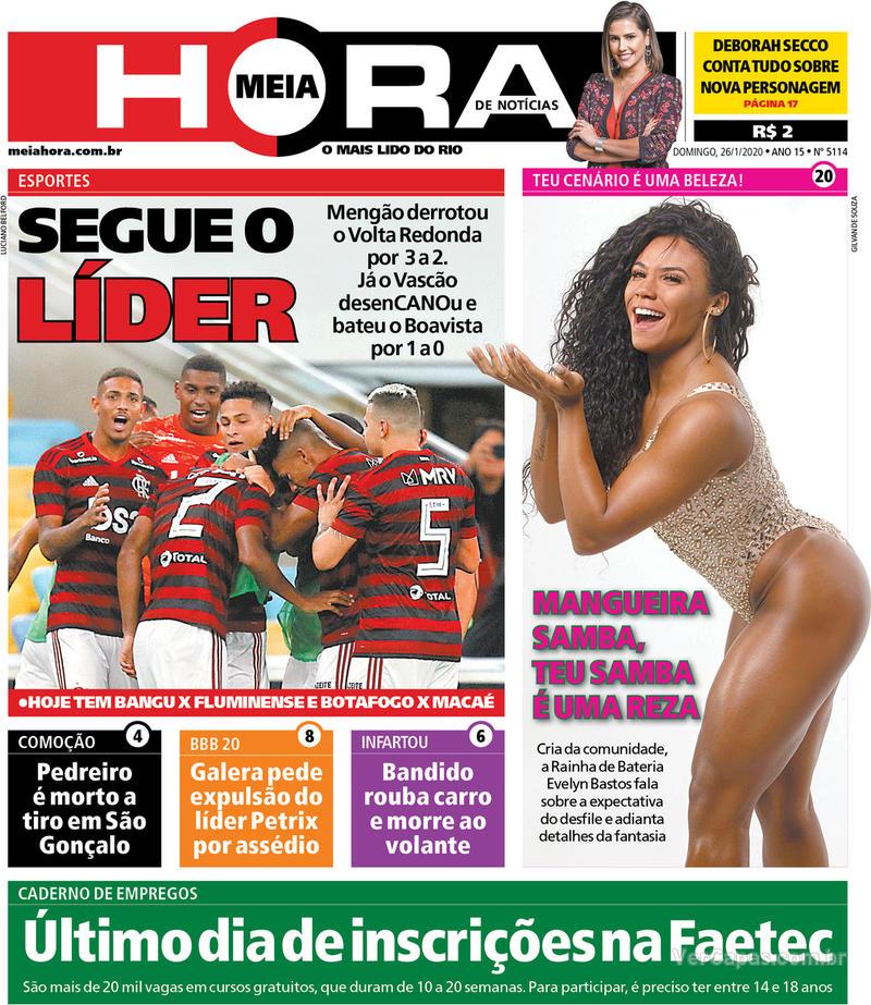 Capa do jornal Meia Hora 26/01/2020