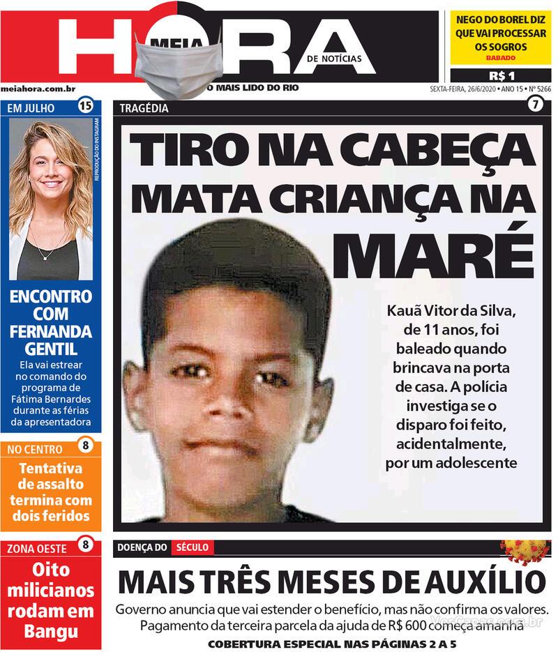 Capa do jornal Meia Hora 26/06/2020