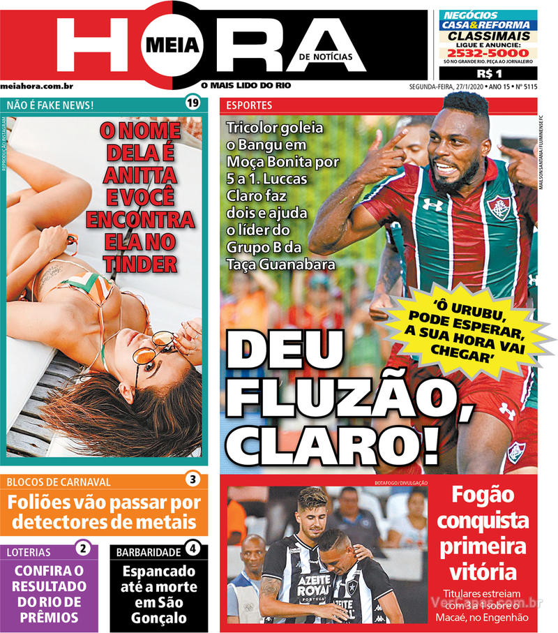 Capa do jornal Meia Hora 27/01/2020
