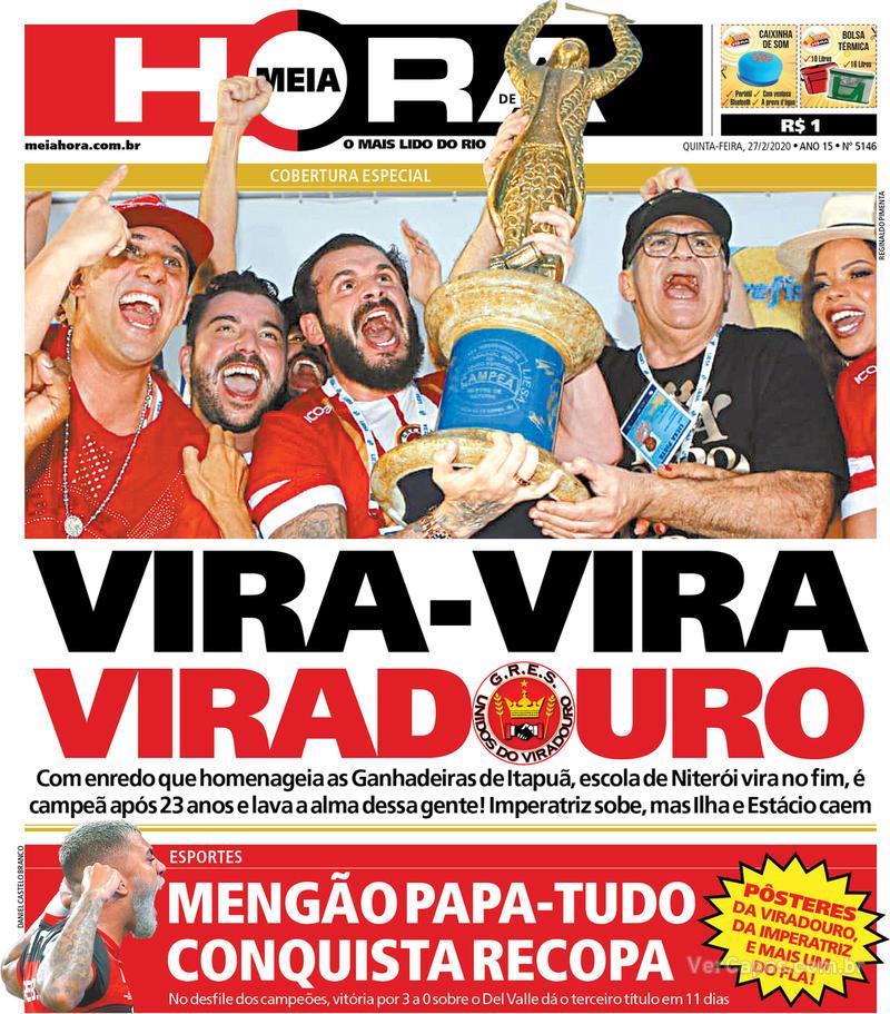 Capa do jornal Meia Hora 27/02/2020