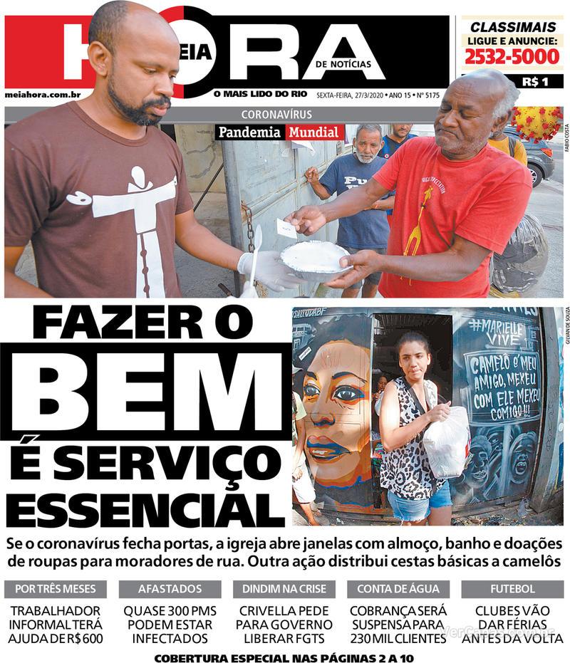 Capa do jornal Meia Hora 27/03/2020