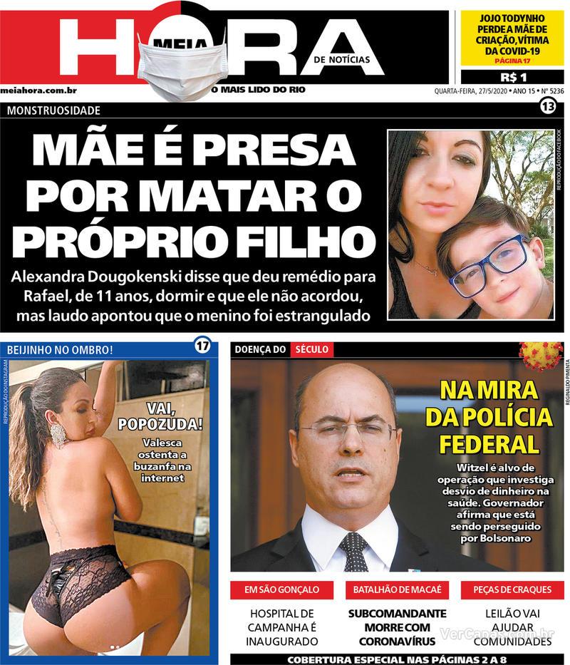 Capa do jornal Meia Hora 27/05/2020