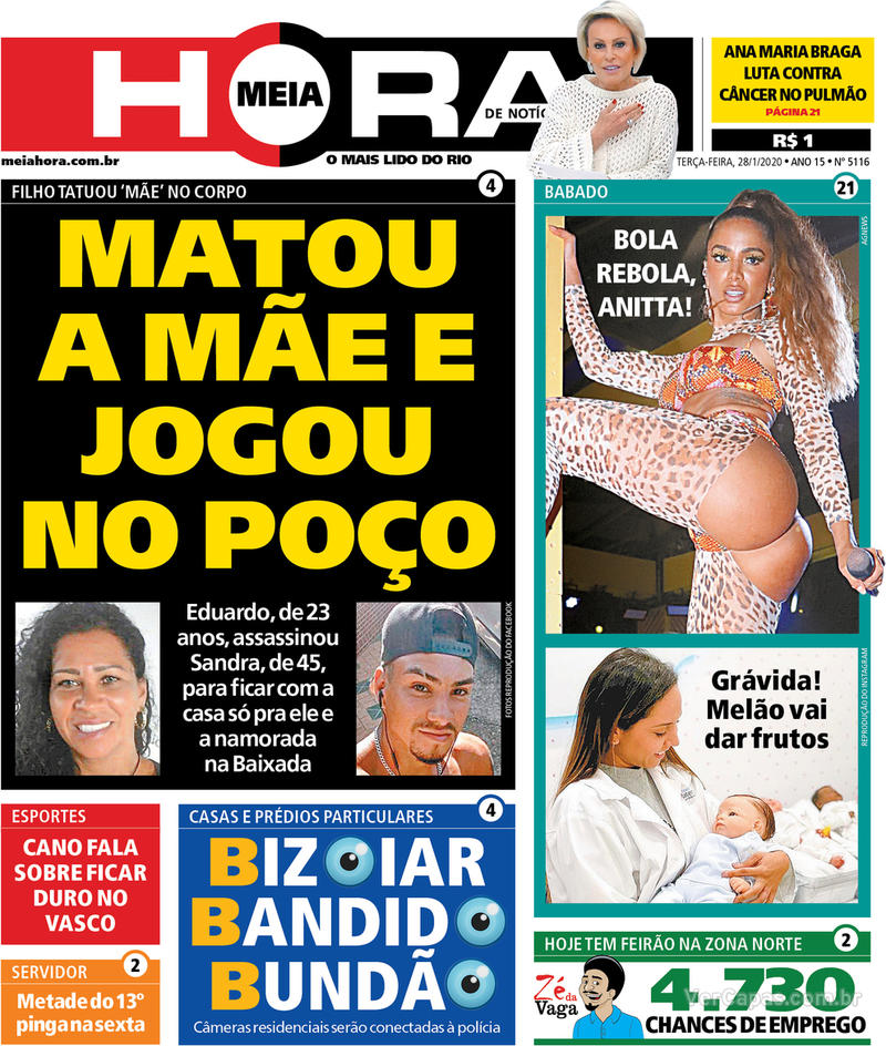 Capa do jornal Meia Hora 28/01/2020