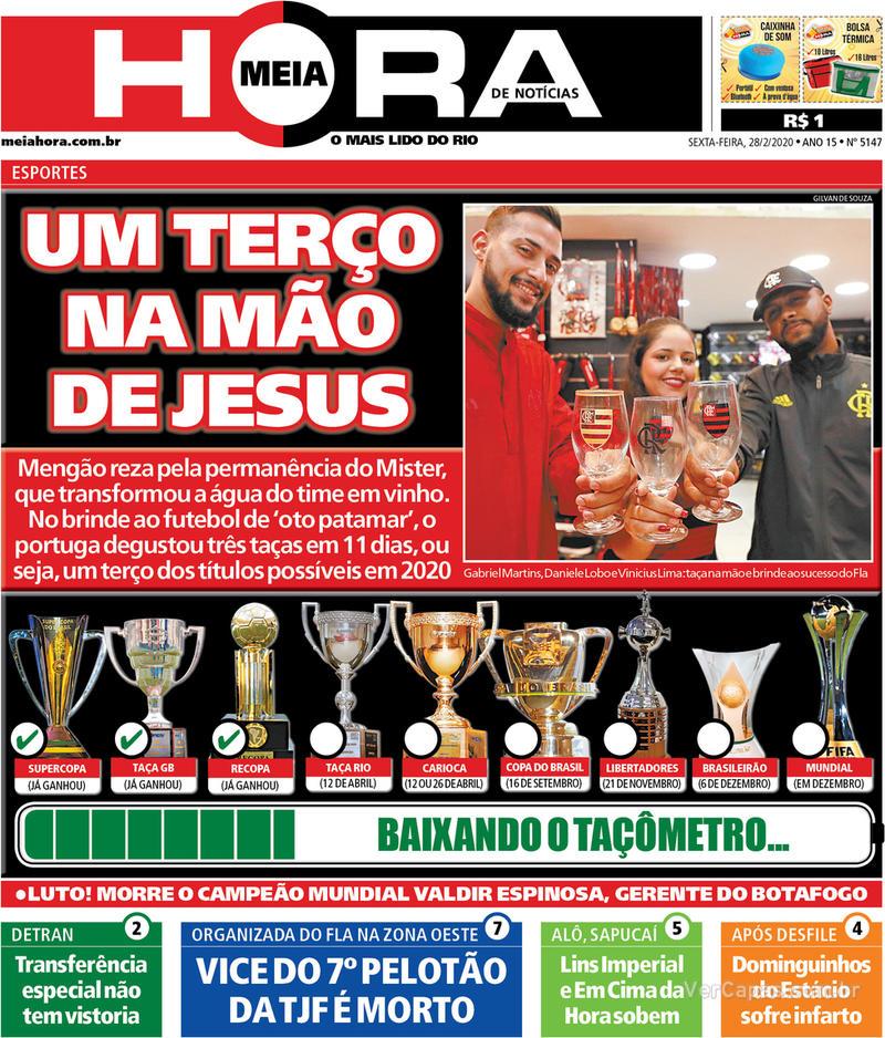 Capa do jornal Meia Hora 28/02/2020