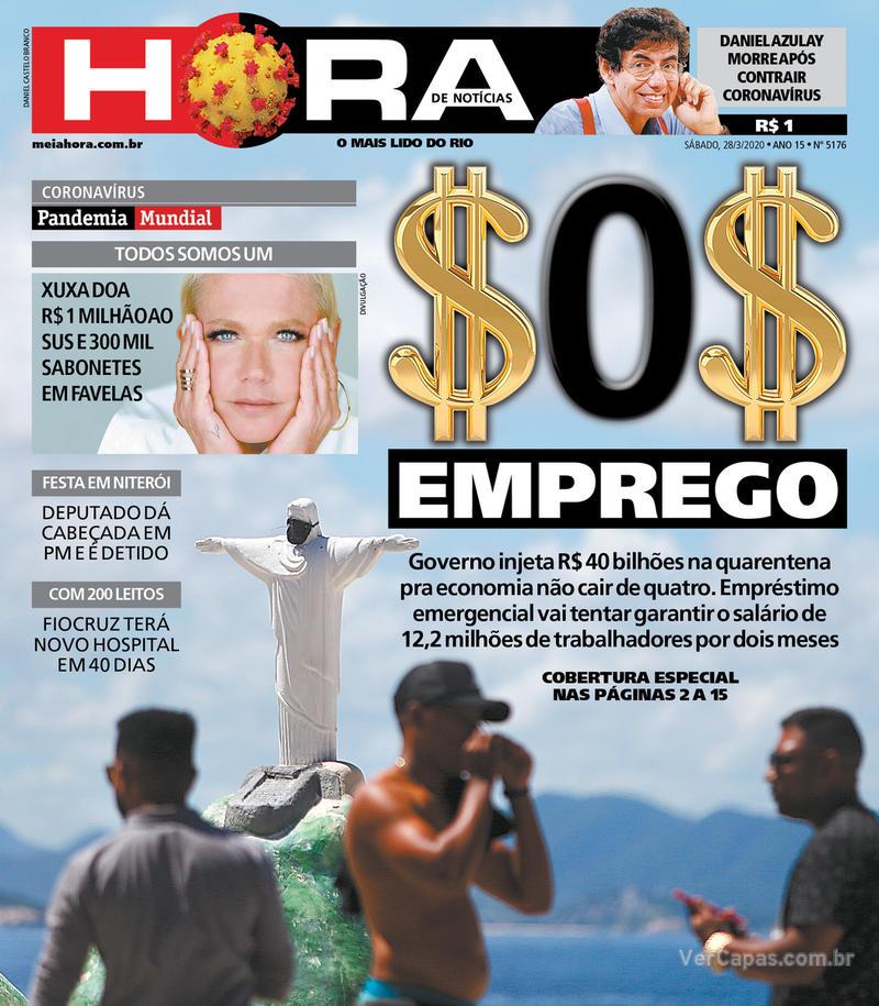 Capa do jornal Meia Hora 28/03/2020