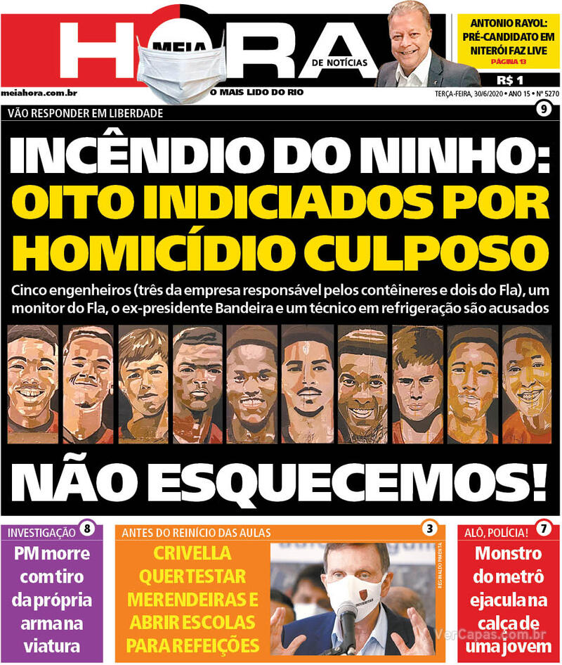 Capa do jornal Meia Hora 30/06/2020