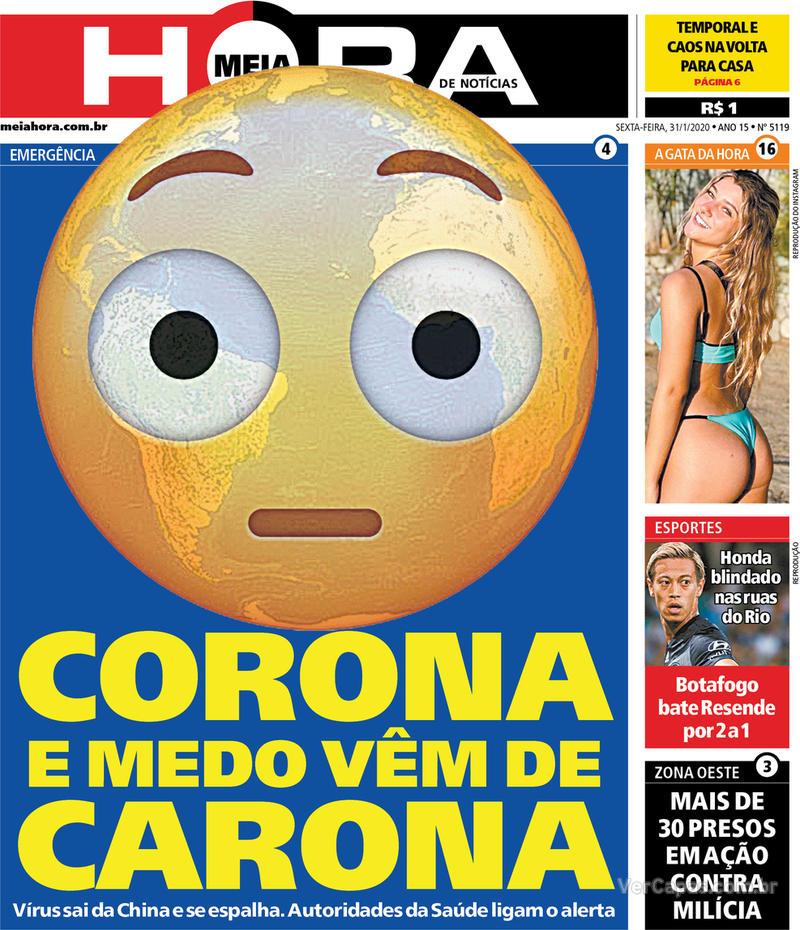 Capa do jornal Meia Hora 31/01/2020